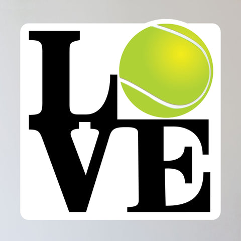 "Love Tennis Ball Wall Sticker, 11""h x 11""w"