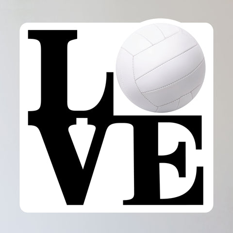 "Love Volleyball Wall Sticker, 11""h x 11""w"