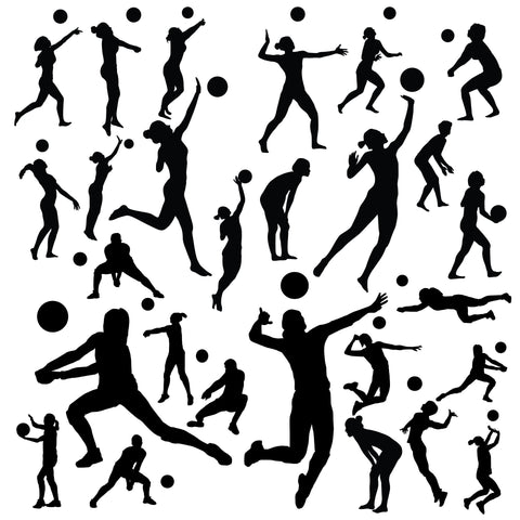 27 Volleyball Player Wall Stickers, Multiple Volleyball Player Wall Graphics, 0586, For smooth walls only
