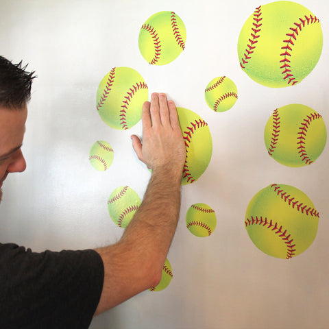 Softball Wall Prints. Just peel and stick to any smooth wall.