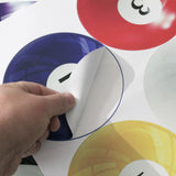 Pool balls wall stickers, just peel and stick to any smooth wall surface.