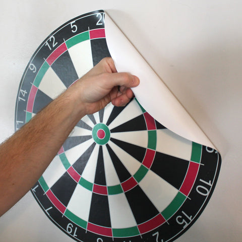 "Dartboard wall sticker, 19""h x 19""w, just peel and stick to any smooth surface!"