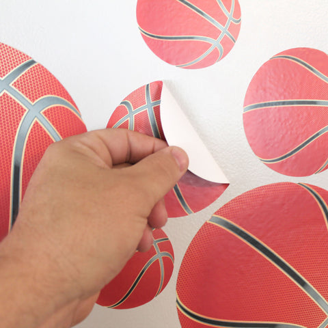 Peel and stick twenty two basketball wall stickers to any smooth surface.