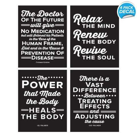 4 pack of peel and stick chiropractor wall decals