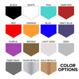 Color Options: Black, White, Teal, Dark Red, Red, Orange, Blue, Navy Blue, Purple, Brown, Light Gray, Gray, Dark Gray, Silver Metallic, Gold Metallic