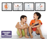 Football Wall Art - 4 pack - Football Player Wall Decals - 0545