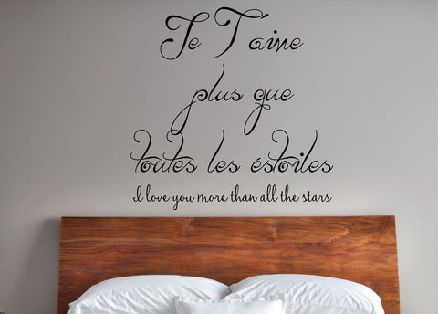 I love you more than all the stars. - 0182- Home Decor - Wall Decor - Love - French