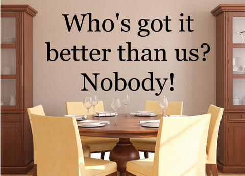 Who's got it better than us? Nobody! - 0192- Home Decor - Wall - Decor