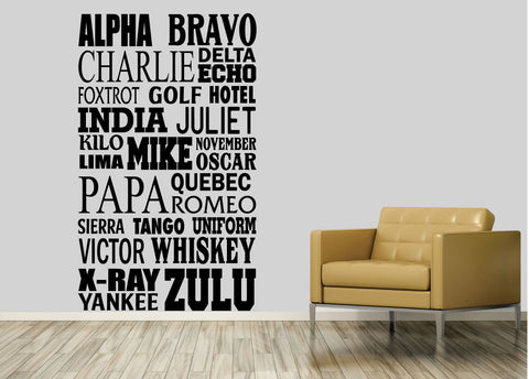 NATO alphabet. - 0232- Home Decor - Wall Decor - NATO - Phonetic Alphabet - Alpha - Bravo - Charlie - Tango