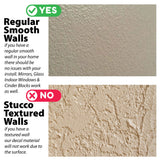 This decal will only apply to smooth regular walls. No Stucco or Textured Walls.