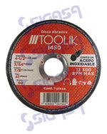 disco toolik 1450 plano 4-1/2x1/16x7/8 acero inoxidable (781) - SIGASA