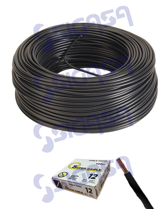 CABLE SUPERCABLE THW # 12 NEGRO (ROLLO 100 MTS), SUPERCABLE, SIGASA, SIGASA