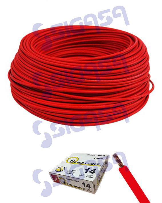 CABLE SUPERCABLE THW # 14 ROJO (ROLLO 100 MTS), SUPERCABLE, SIGASA, SIGASA