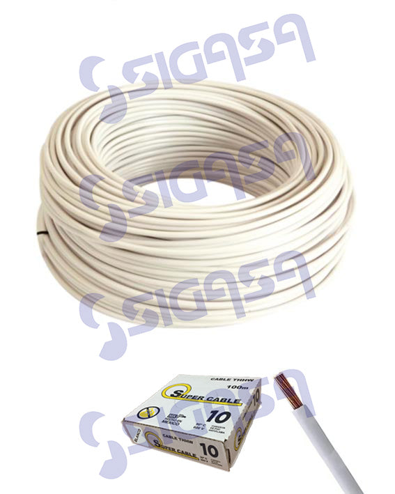 CABLE SUPERCABLE THW # 10 BLANCO (ROLLO 100 MTS), SUPERCABLE, SIGASA, SIGASA