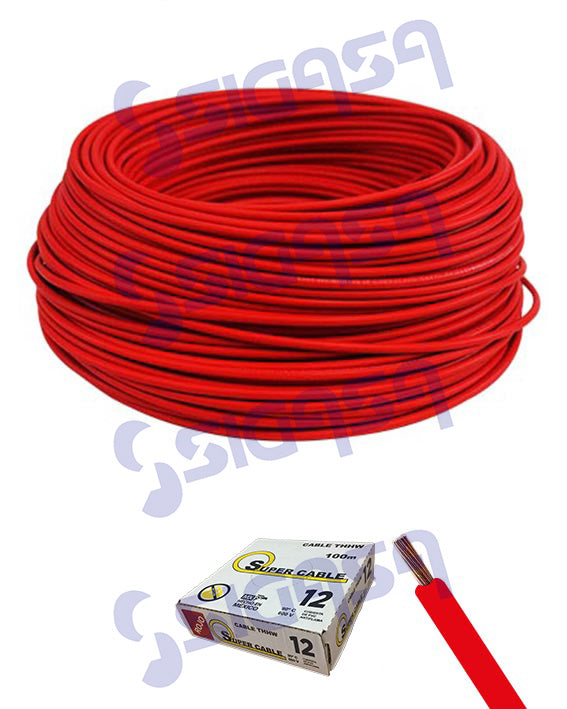 CABLE SUPERCABLE THW # 12 ROJO (ROLLO 100 MTS), SUPERCABLE, SIGASA, SIGASA