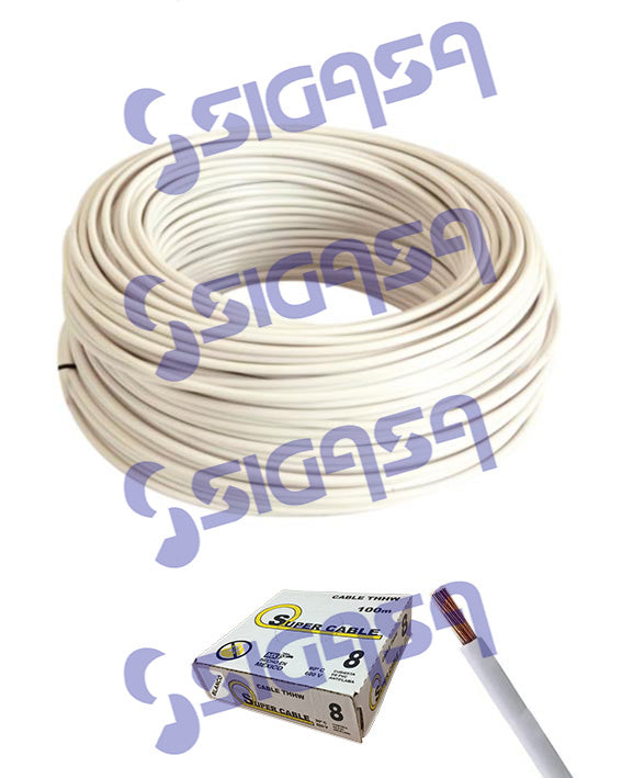 CABLE SUPERCABLE THW #  8 BLANCO (ROLLO 100 MTS), SUPERCABLE, SIGASA, SIGASA