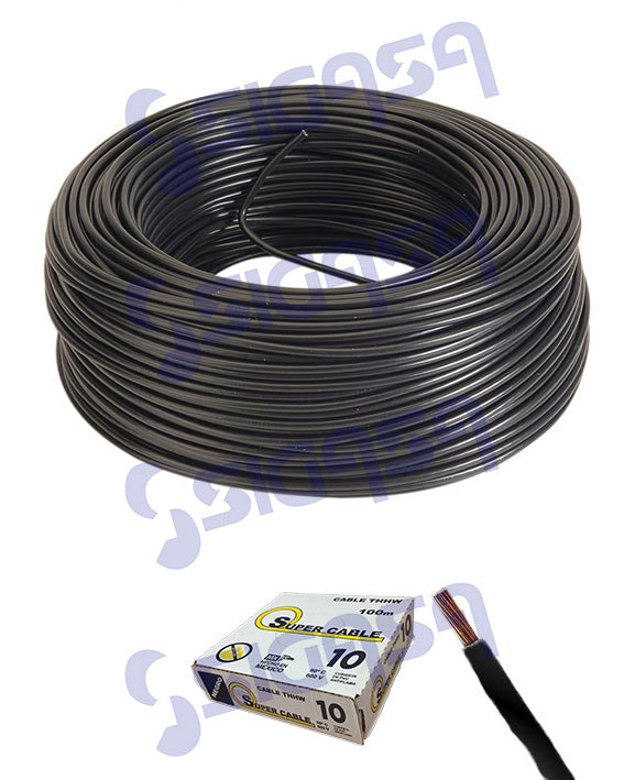 CABLE SUPERCABLE THW # 10 NEGRO (ROLLO 100 MTS), SUPERCABLE, SIGASA, SIGASA