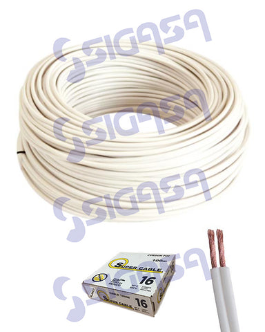CORDON POT SUPERCABLE # 16 BLANCO (ROLLO 100 MTS), SUPERCABLE, SIGASA, SIGASA