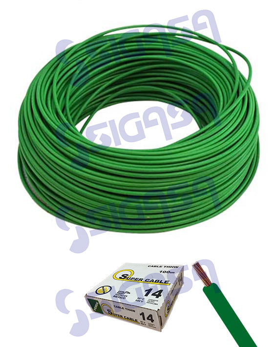 CABLE SUPERCABLE THW # 14 VERDE (ROLLO 100 MTS), SUPERCABLE, SIGASA, SIGASA
