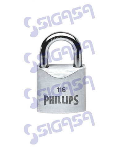 CANDADO PHILLIPS ACERO 116 GC G CORTO, PHILLIPS, SIGASA, SIGASA