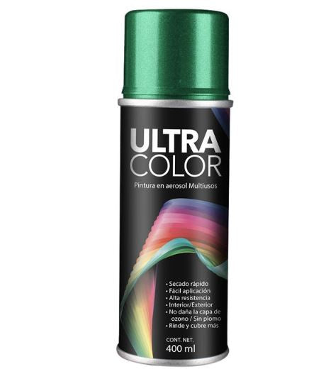 PINTURA ULTRACOLOR VERDE METALICO AEROSOL 400ml.