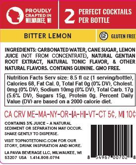 award winning sparkling bitter lemon tonic back label with nutrition facts