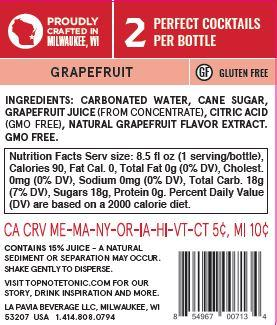 grapefruit soda back label with nutrition facts