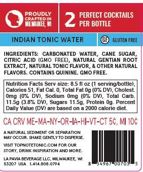 award winning indian tonic water back label with nutrition facts