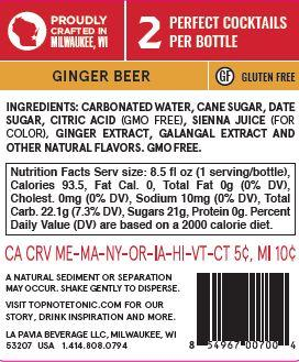 non alcoholic ginger beer back label with nutrition facts