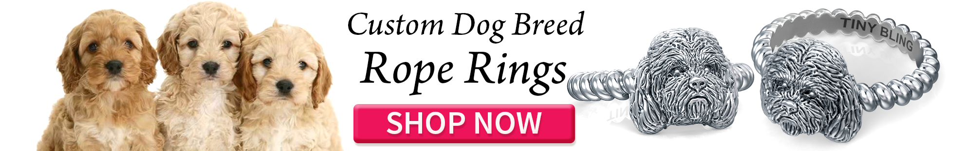 Ting Bling Custom Dog Jewelry Rope Ring Cockapoo Breed Banner