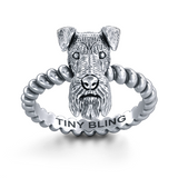 Airedale Terrier Breed Jewelry Twisted Wire Rope Ring