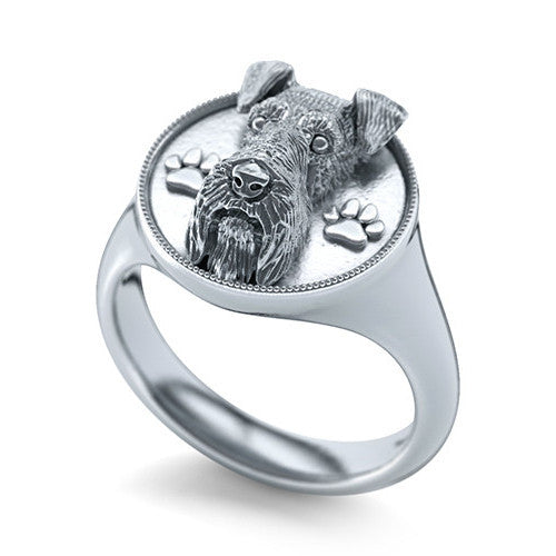 Miniature Schnauzer Signet Ring Sterling Silver- TINY BLING
