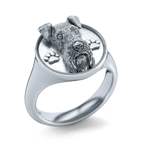 Airedale Terrier Signet Ring - TINY BLING