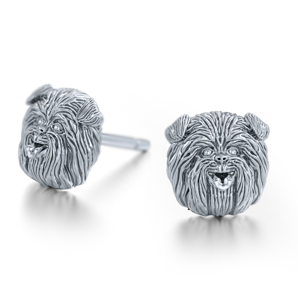 Affenpinscher Breed Puppy Face Earring Studs - TINY BLING