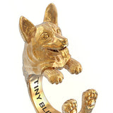 Corgi Breed Jewelry Cuddle Wrap Ring - TINY BLING