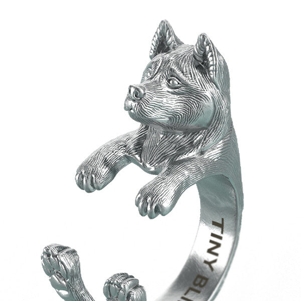 Akita Breed Jewelry Cuddle Wrap Ring - TINY BLING