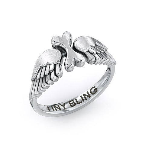 Angel Wings Lucky Bones Ring - TINY BLING