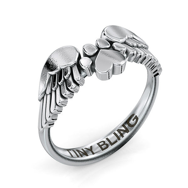 Angel Wings Paw Print Ring - TINY BLING