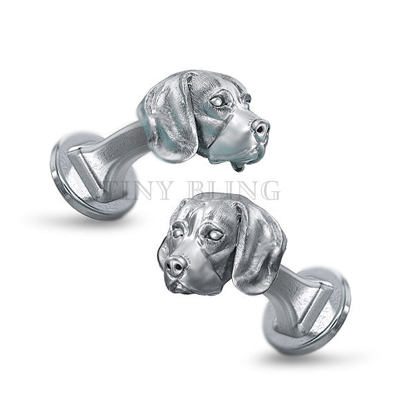 Beagle Puppy Face Cufflinks - TINY BLING