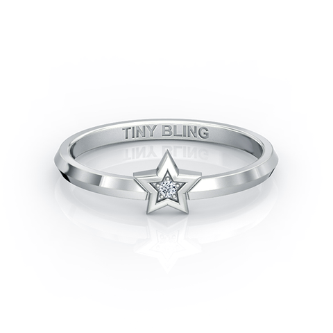 Tiny Star Solitaire Diamond Ring