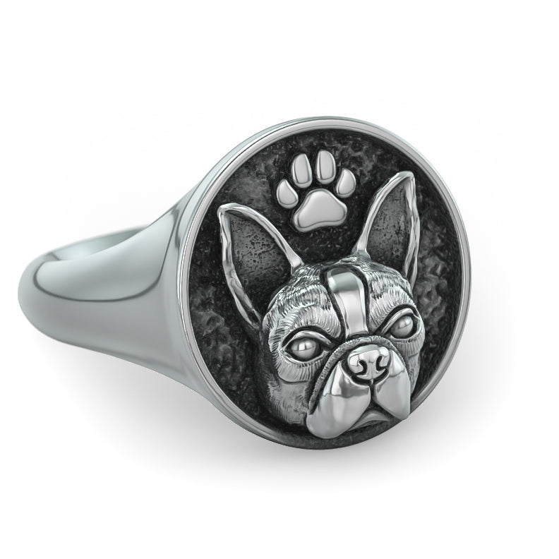 Boston Terrier Classic Round Signet Ring
