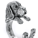 Basset Hound Jewelry Cuddle Wrap Ring - TINY BLING
