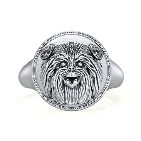 Affenpinscher Classic Round Signet Ring - TINY BLING