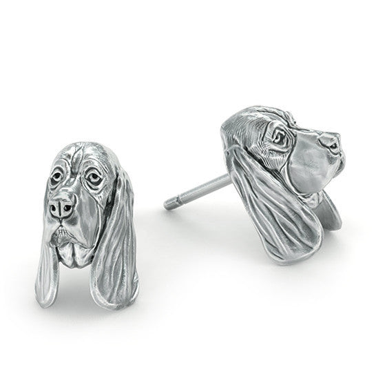 Basset Hound Puppy Face Earring Studs - TINY BLING