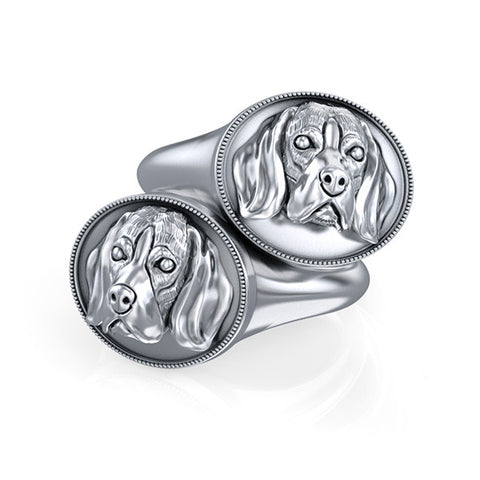 Beagle Classic Oval Signet Ring - TINY BLING