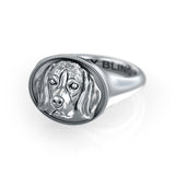 American English Coonhound Oval Signet Ring