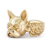 Boston Terrier Angel Wings Memorial Ring