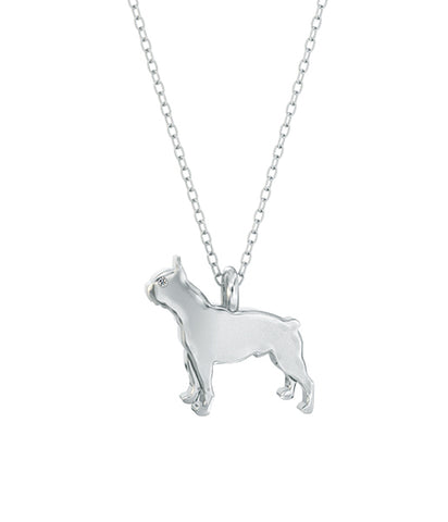 Boston Terrier Mini Pups Diamond Necklace- Silver