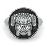 Boxer Breed Classic Round Signet Ring