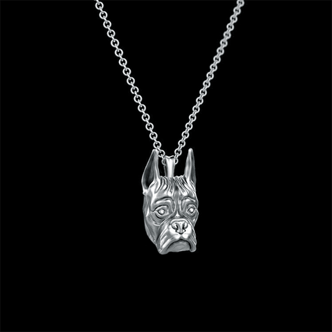 Boxer Breed Cropped Ears Jewelry Necklace